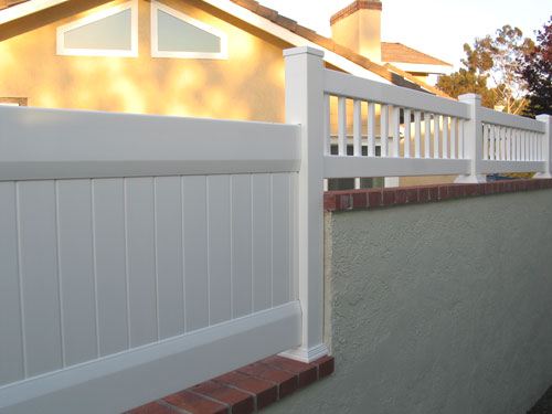 Picket Privacy On Block Wall Vinyl Pro Fence