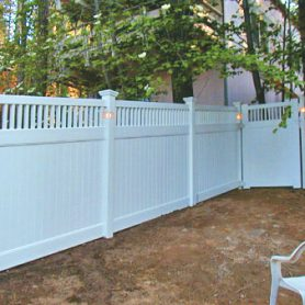 Privacy Fence with Closed  Picket Accent & Lantern Lights