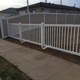 4 foot tall white vinyl closed top picket fence