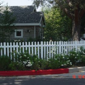 Open straight top straight picket fence
