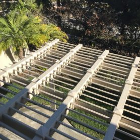 A top view of our Tan Vinyl Louvered Patio Cover