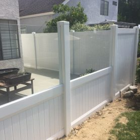 Encinitas …Glass with privacy vinyl fence
