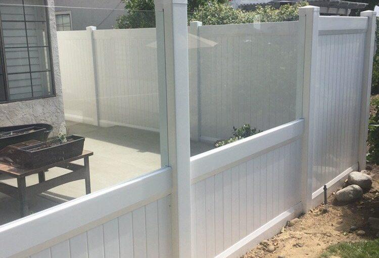 Encinitas ...Glass with privacy vinyl fence